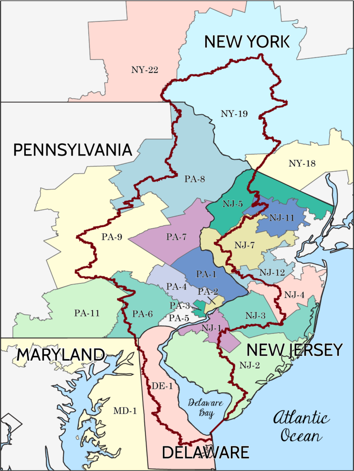 Delaware River Watershed map.png