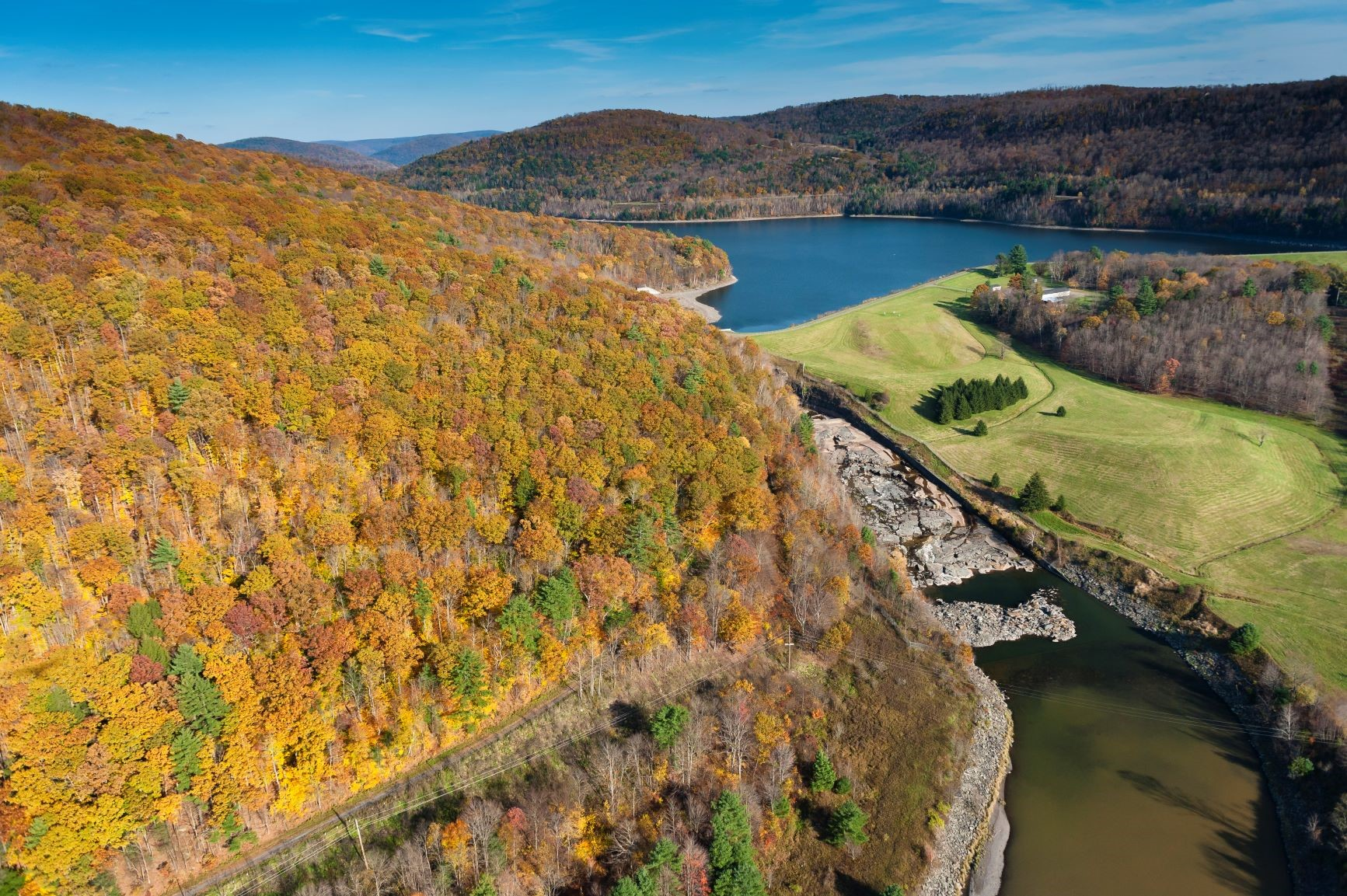 Photo credit: Garth Lenz. View of the Pepacton Reservoir, the beginning of the Upper Delaware River Tailwaters