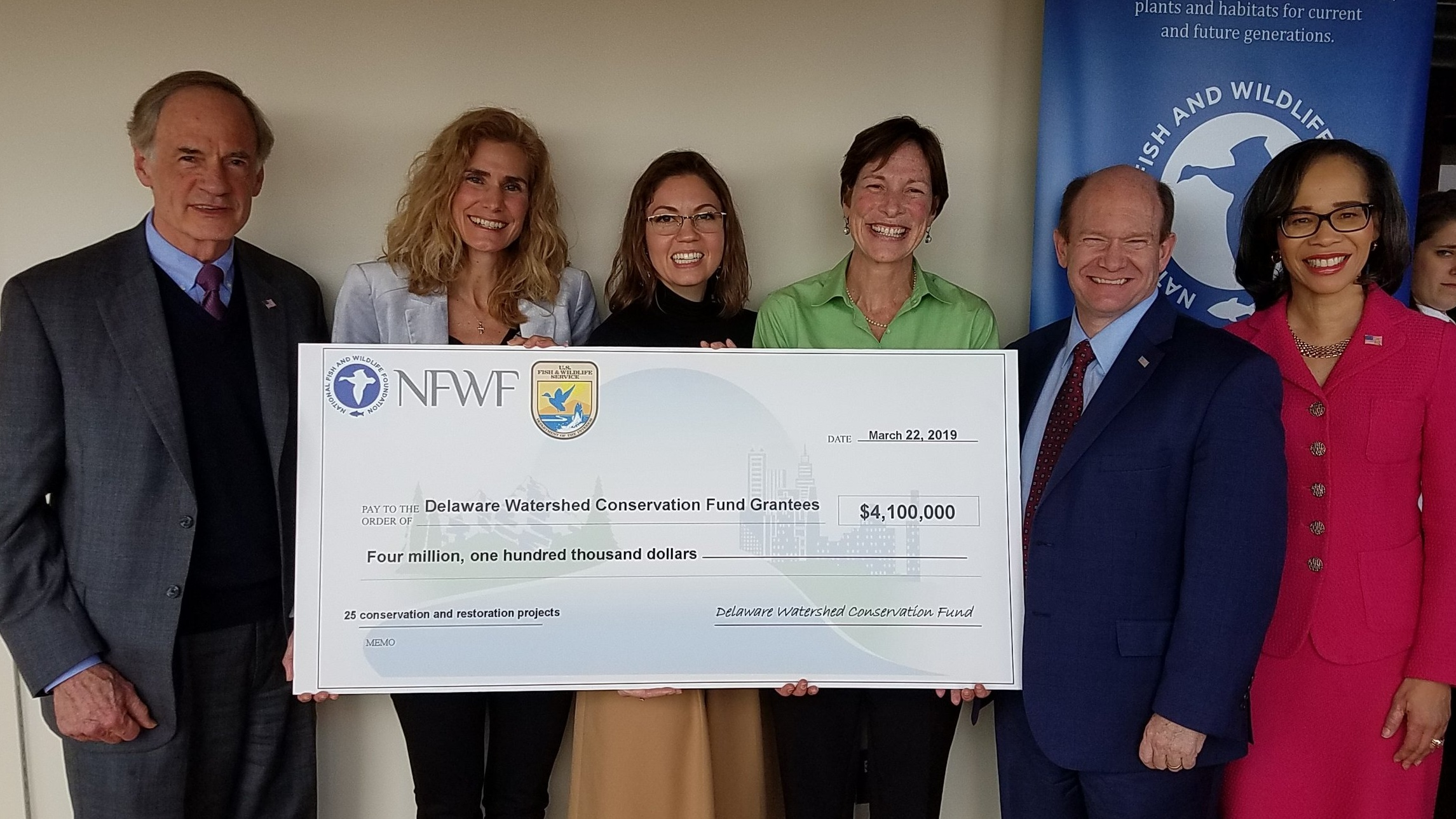 Senator Coons, Senator Carper, Representative Lisa Blunt Rochester, USFWS, and NFWF at the March 22, 2019 press conference in Wilmington, DE.