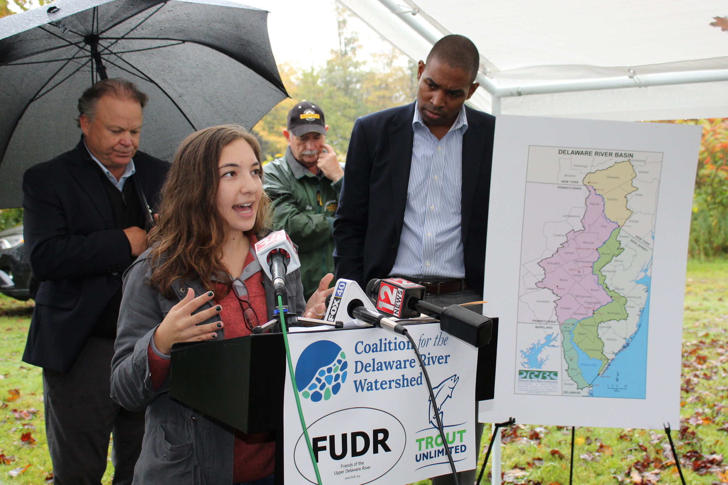 Sandra Meola, Director of the Coalition for the Delaware River Watershed, speaks to the crowd in Deposit, N.Y. on October 7, 2019