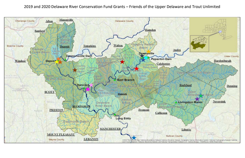 A map created by FUDR and TU showing the project locations receiving Delaware Watershed Conservation Fund grants