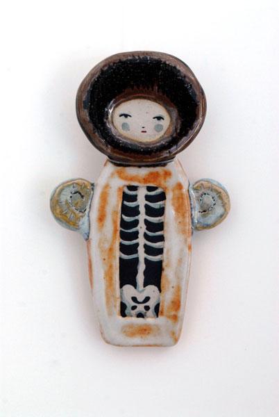 ceramic, glaze, gouache 2x4.5