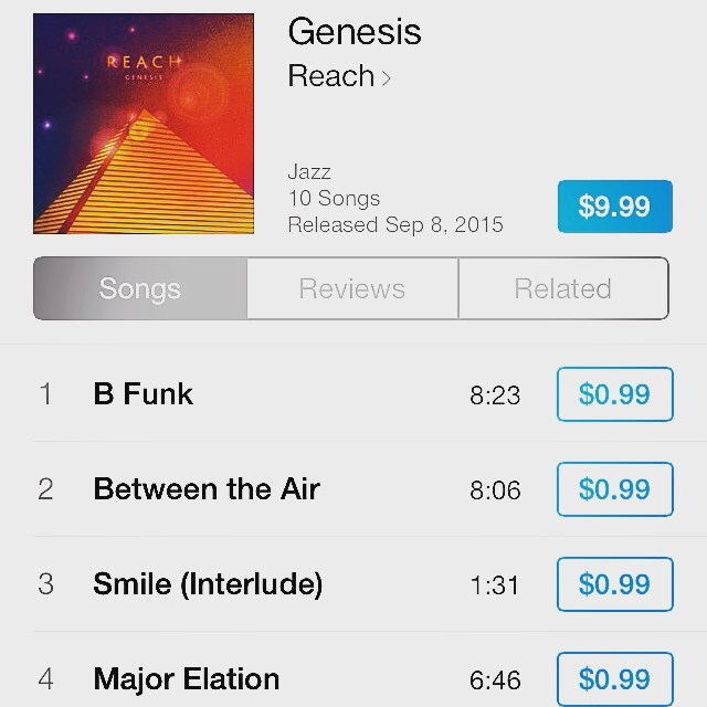 #Genesis is up and available for purchase on #iTunes as well as #Amazon. We're positive that there's at least one track on this album that will make your day, everyday. #REACH #ReachingPeople #REACHForever