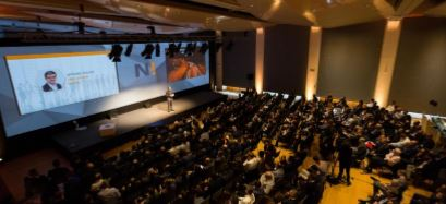 CEO Gael Escribe addresses the 350 delegates from 62 countries who attended the 3rd NEXUS Business Forum in Montreux, Switzerland.