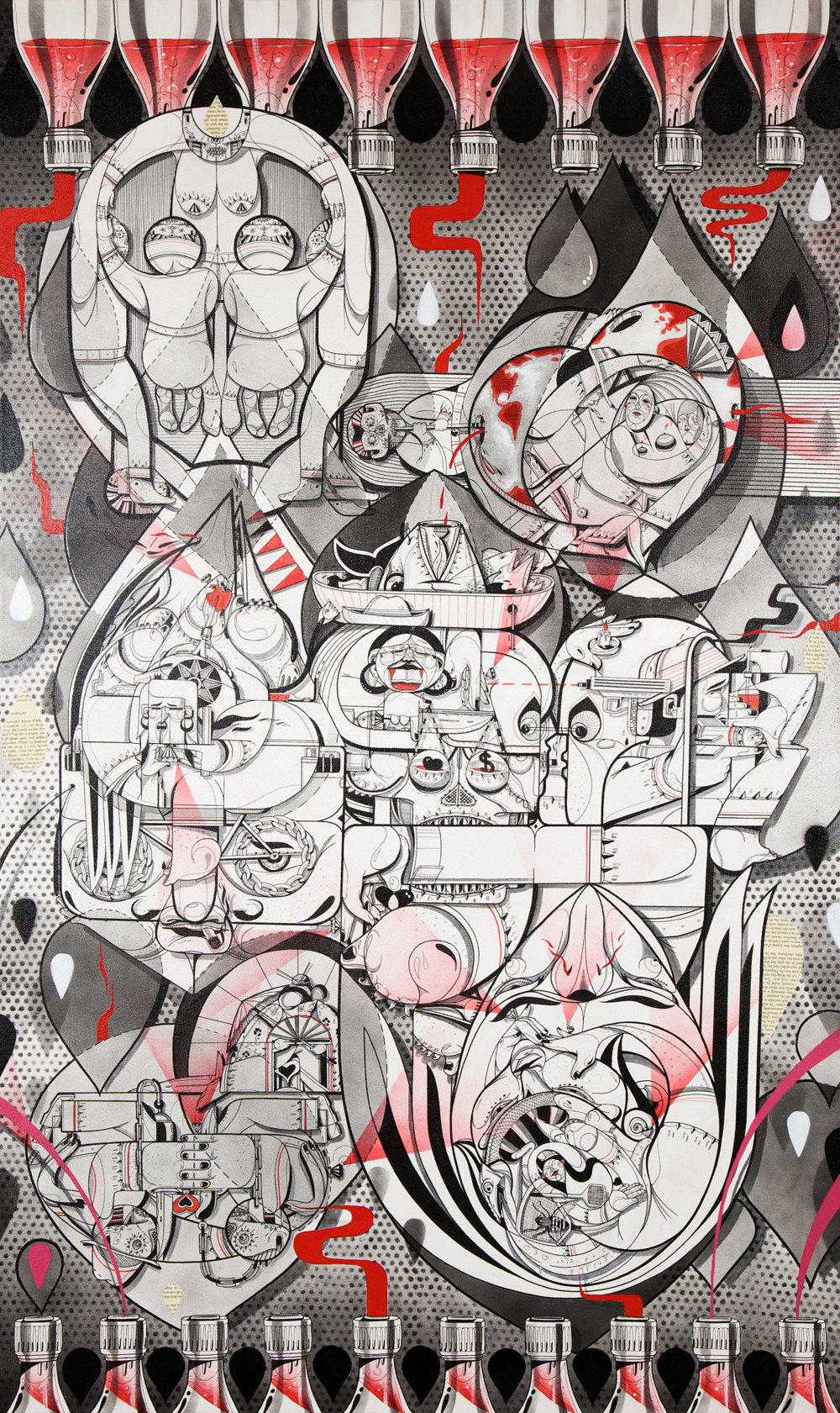 Balance of Opposites, 36x60,spray paint,india ink,cel vinyl,collage on canvas,2011.jpg