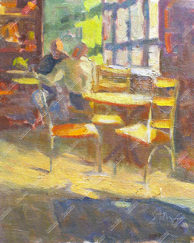 Sunlit Cafe Interior, 8x10