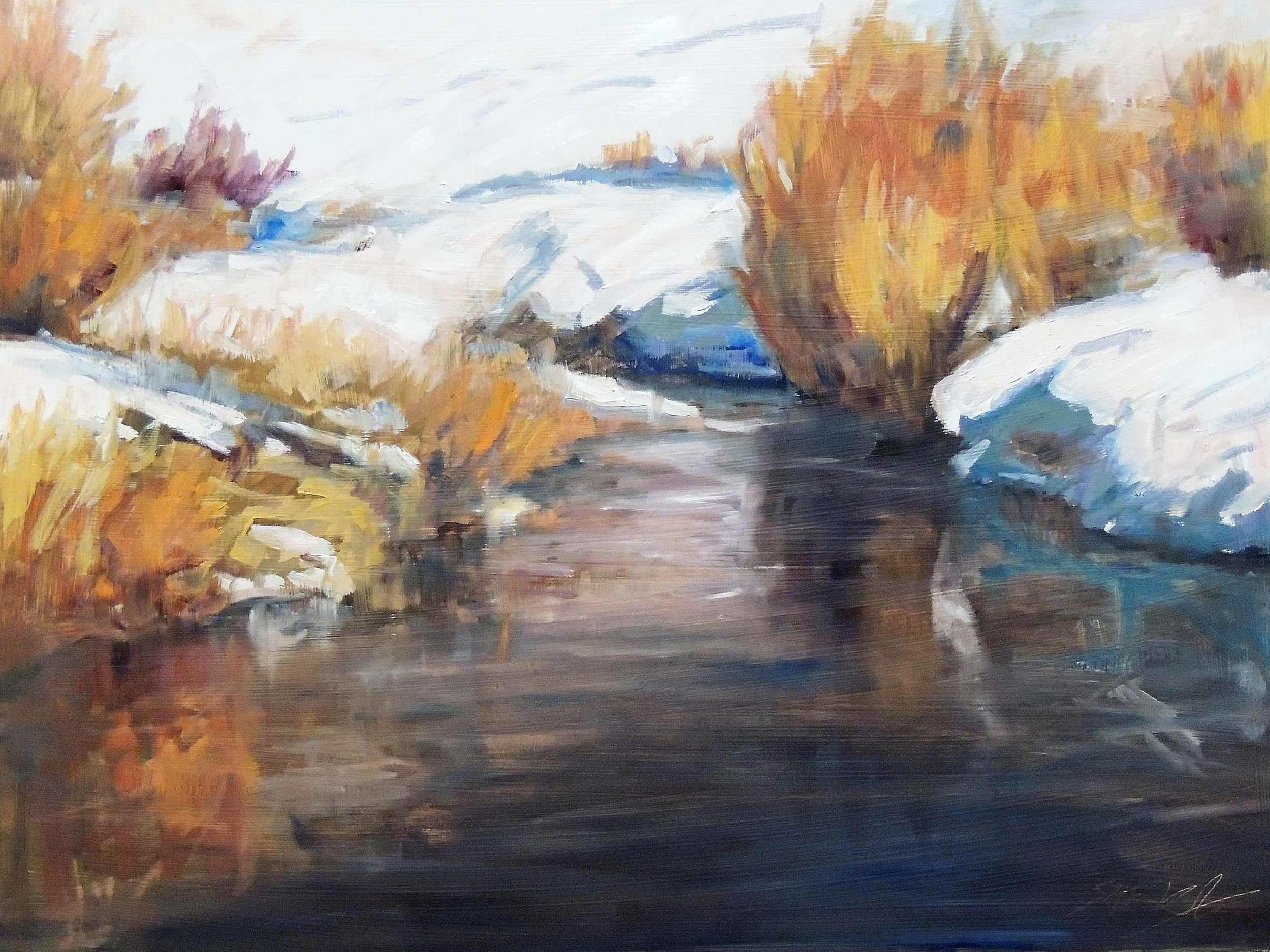 Blue River with Snow  18x24