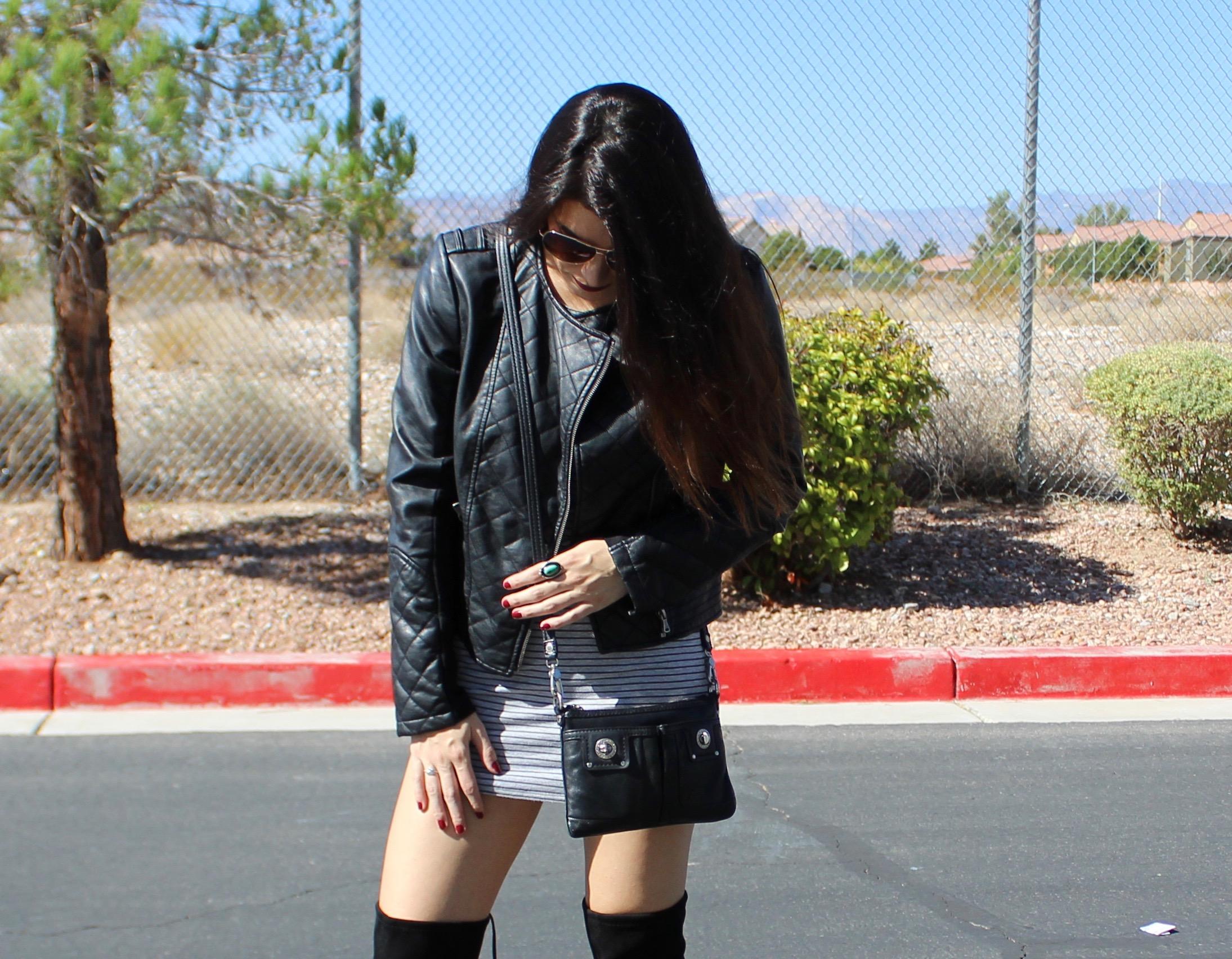 falloutfit,autumoutfit,leather,leatherjacket,stripeddress,overthekneeboots,fashion,style,blogger,lasvegas,lasvegasblogger