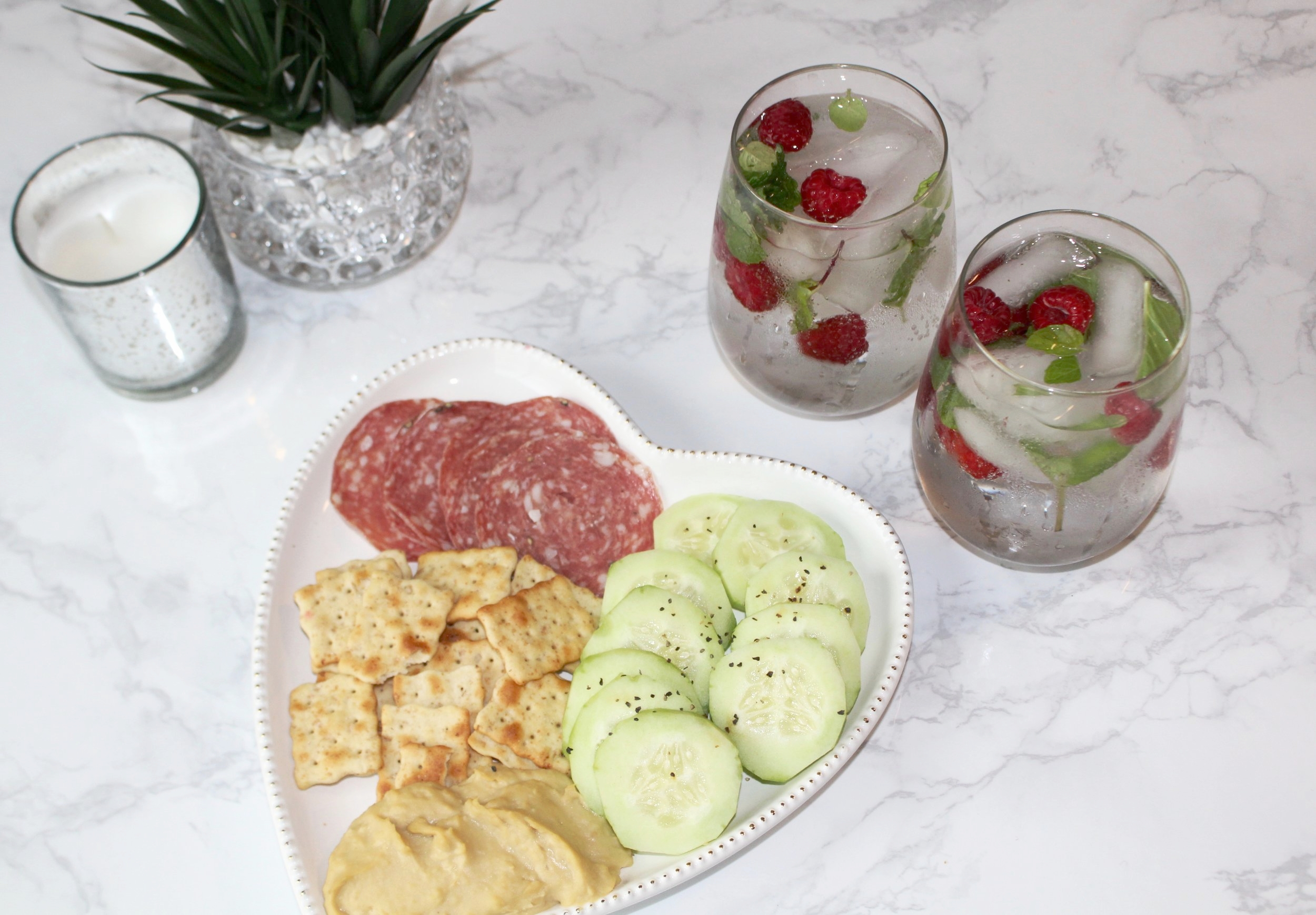 honestlysarcastic,valentinesday,happyvalentinesday,love,cocktail,lovecocktail,healthyeating,healthyliving,loveyourself,cheerstolove,cucumber,raspberry,lime,sparklinglime,cucumbervodka,mint,organic,heart,heartplate,snacks,appetizers,cheers,drinks,celebrate,selflove