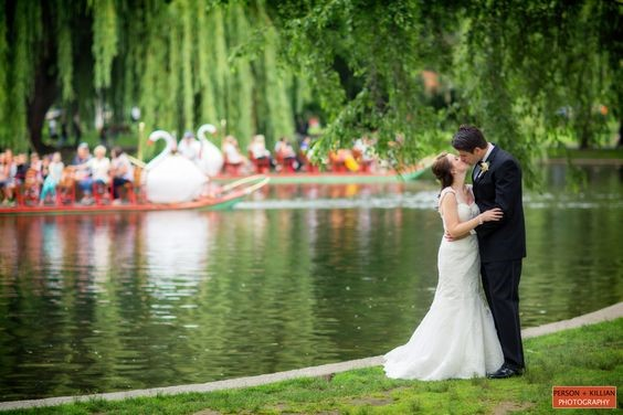 Bride ans Groom married next to Swan boats in the Boston Common.