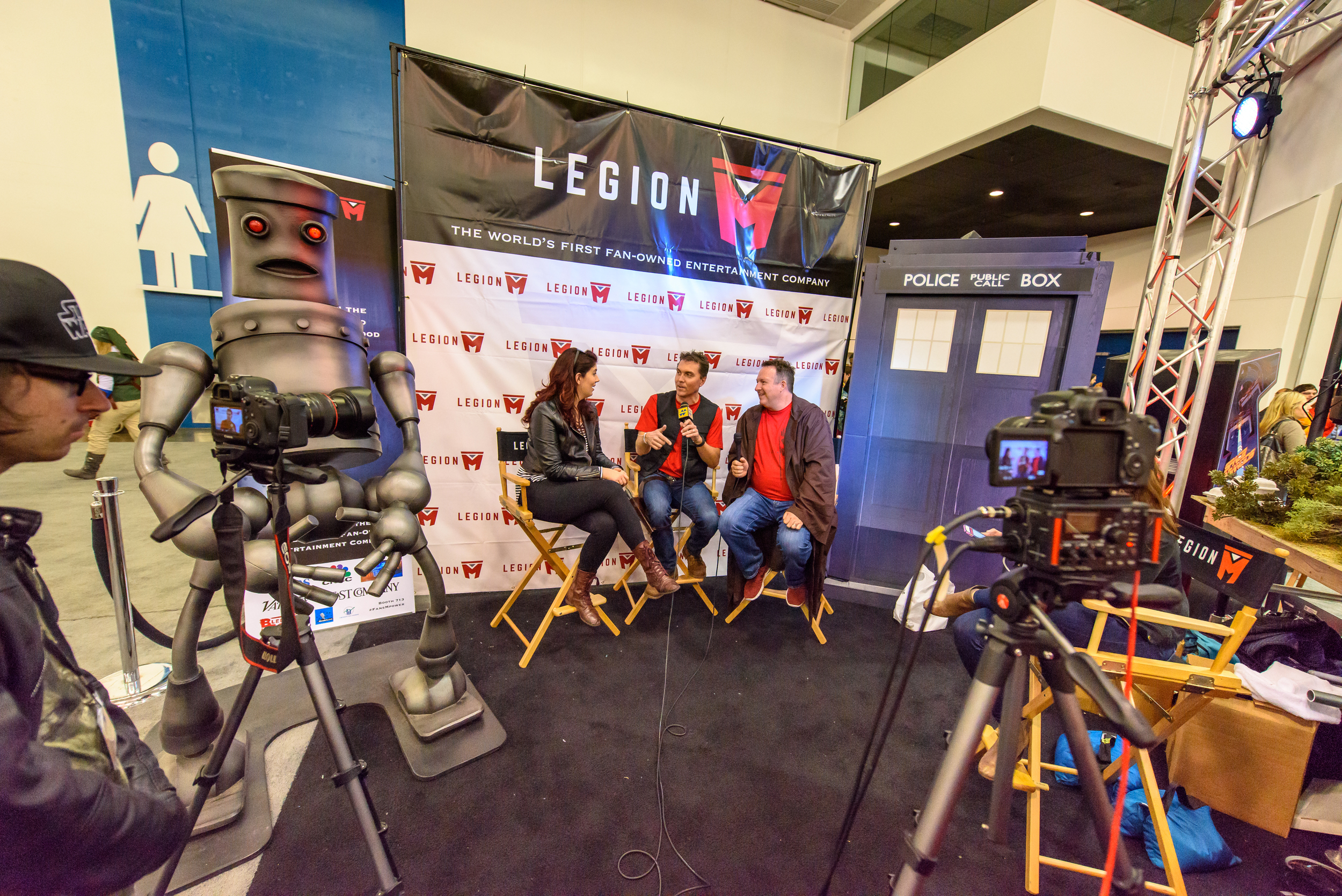 Legion M cofounders Paul Scanlan (middle, in the Han Solo vest)and Jeff Annison (right, in the Jedi Robes)were busy, fielding over 26 press interviews in 2.5 days.