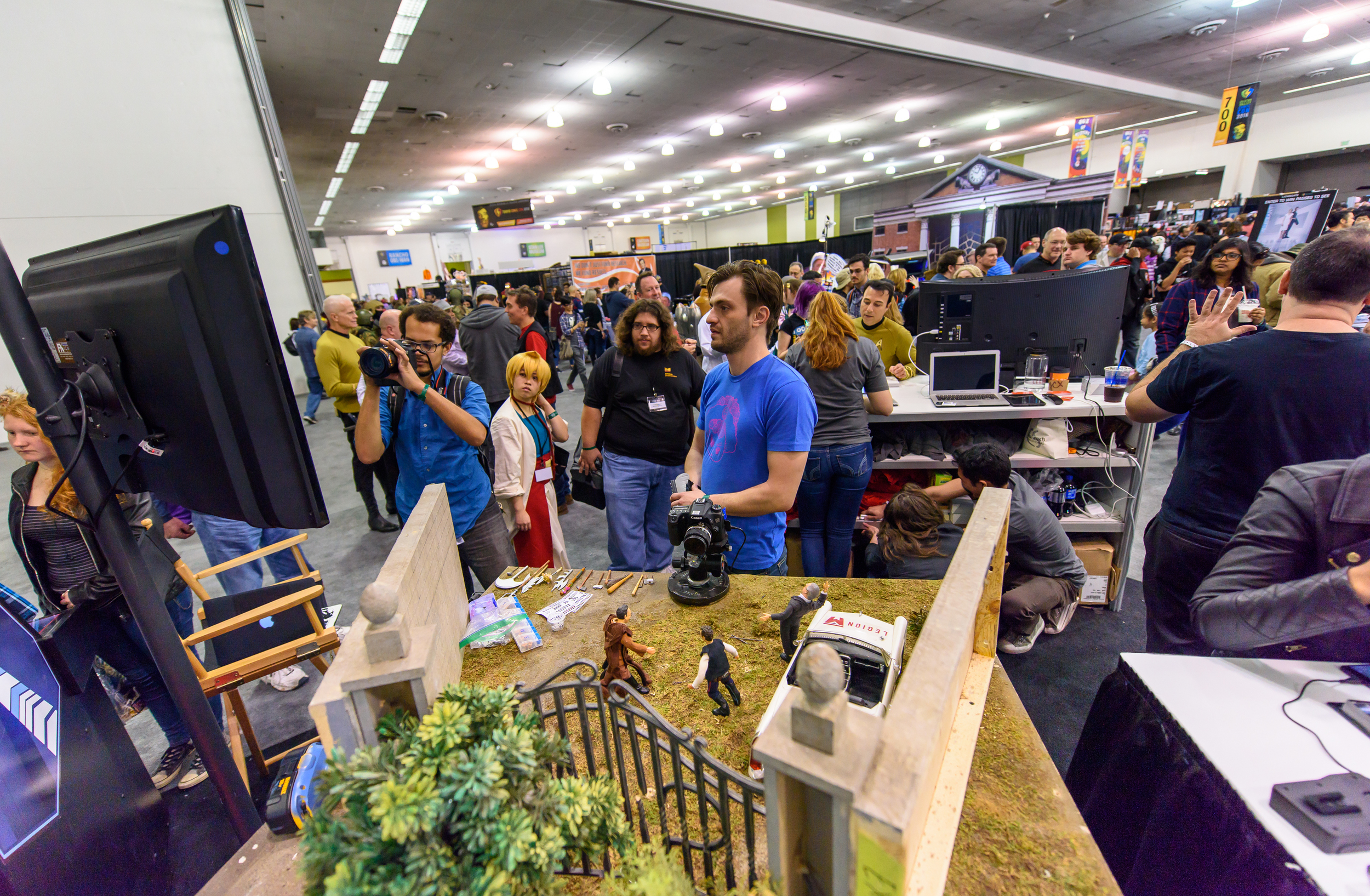 The centerpiece of the Legion M booth was Robot Chicken animator Dillon Markey, who answered questions from fans and did LIVE stop motion animation (yes, we know that's an oxymoron!)all weekend long.