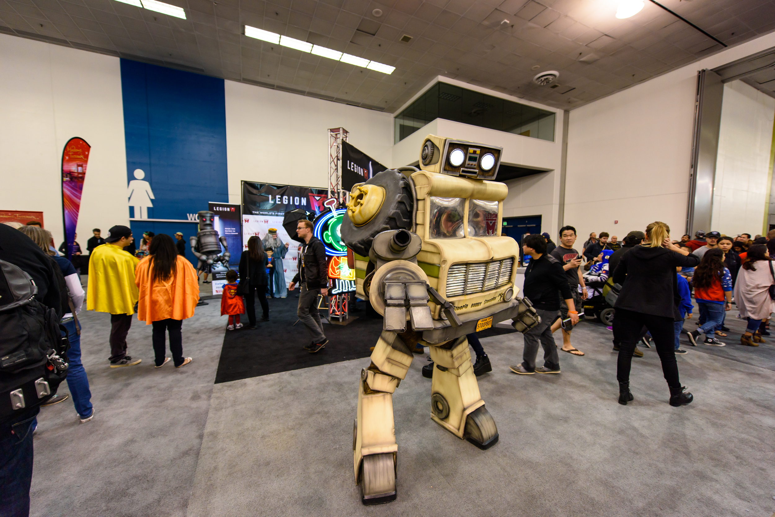 """There's a great story behind """"StoopBot"""". When Stoopid Buddies Stoodio was just starting, they used an old winnebago as their office space. Once the company blew up and """"transformed"""" into a world famous animation house, they built this piece."""