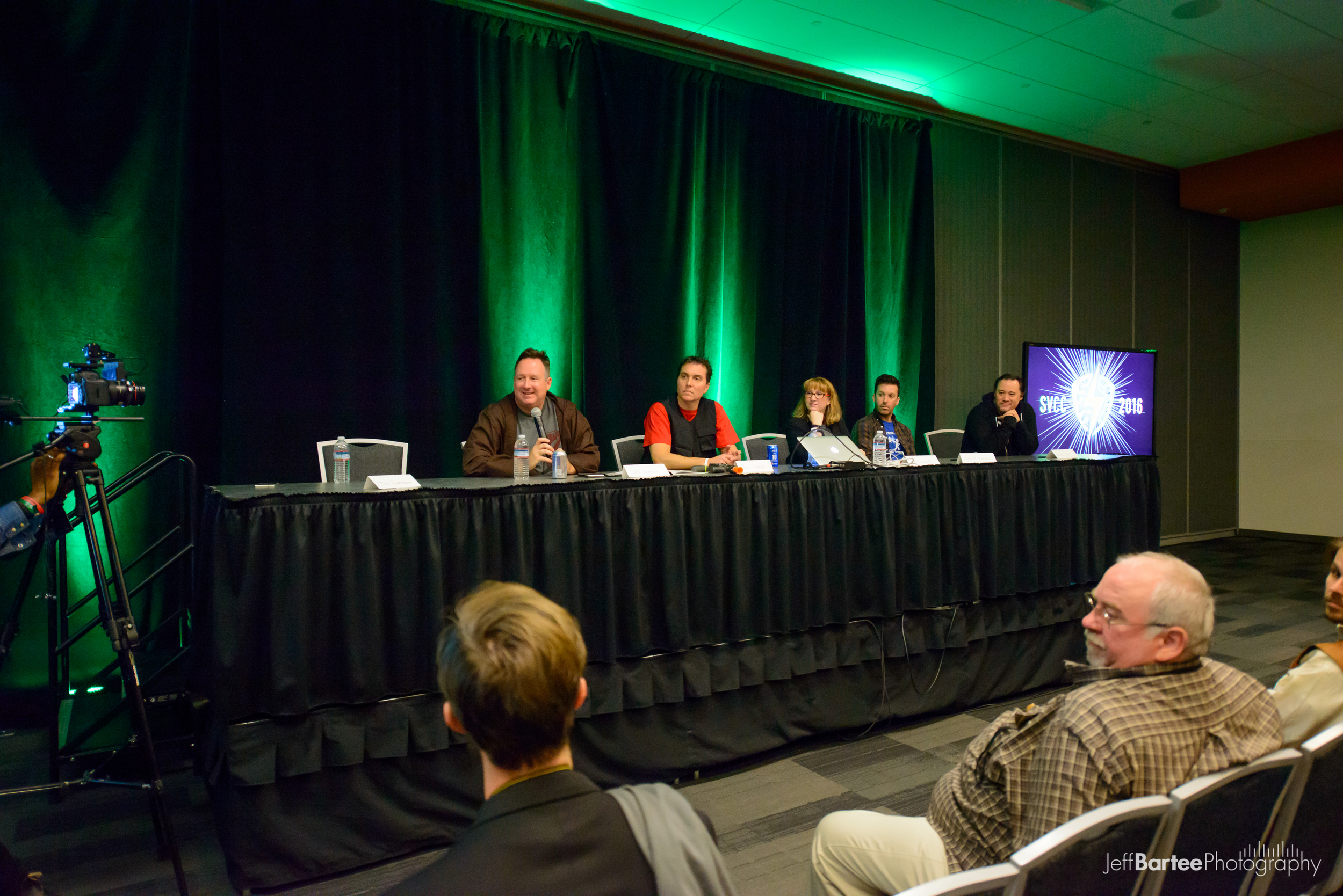 """The panel featured (from left to right) Jeff Annison (Legion M), Paul Scanlan (Legion M), Terri Lubaroff (representing Meltdown Comics), David Brooks (Stoopid Buddy Stoodios), and Alex Lieu (42 Entertainment/Animal Repair Shop). It was moderated by Jim Louderback (VidCon/Revision 3) who went """"Geraldo style"""" into the audience fielding questions."""