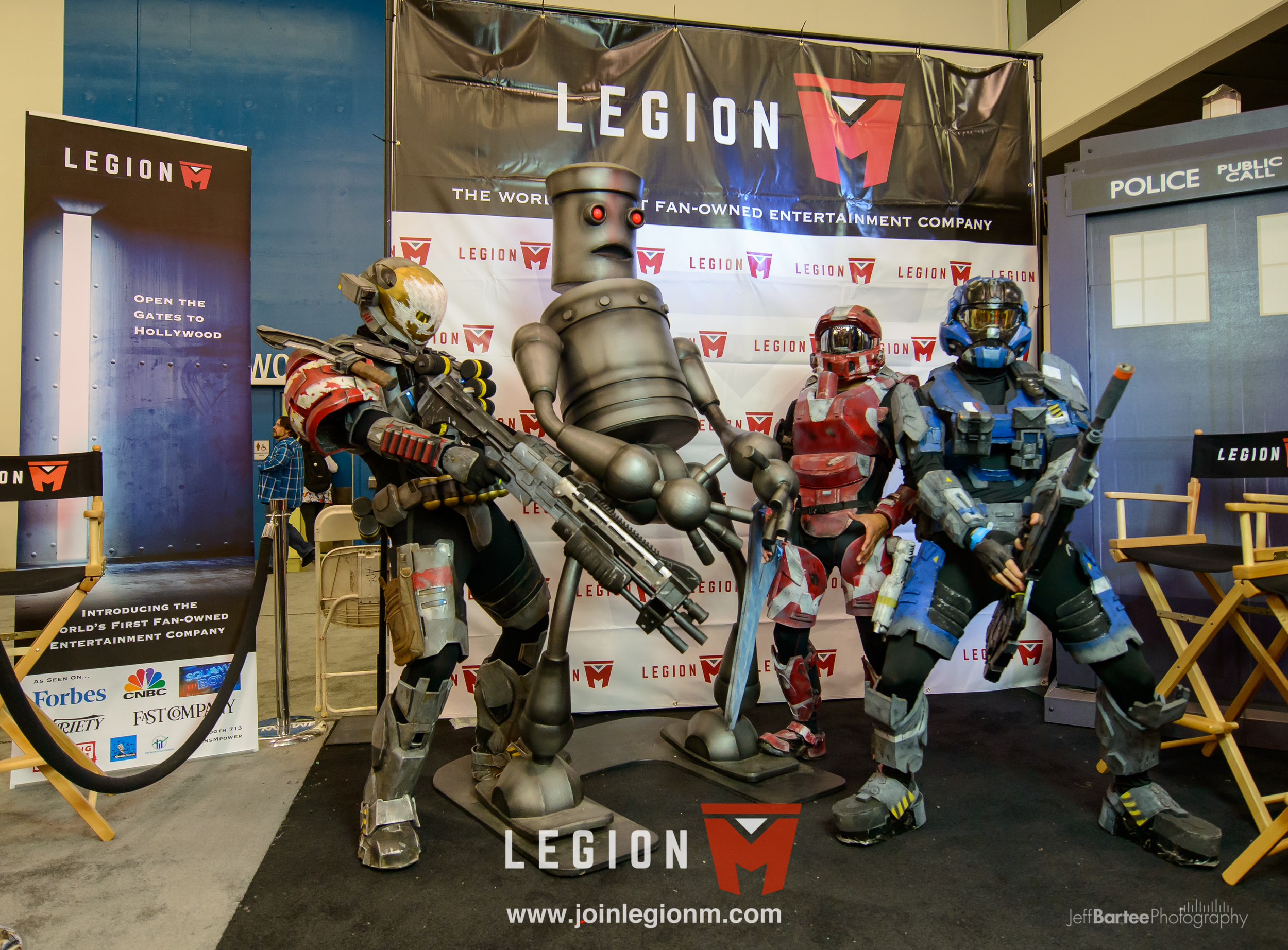 """Stoop Bot wasn't the only robot at our booth. We also had the world famous """"Humping Robot"""" from """"Robot Chicken"""", shown here chillin with a squad from Halo."""
