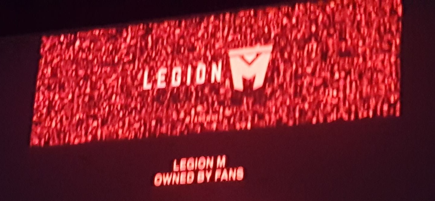 Legion M investor Ramona Snyder took this picture of the photomosaic from her seat at the premier of Mandy.