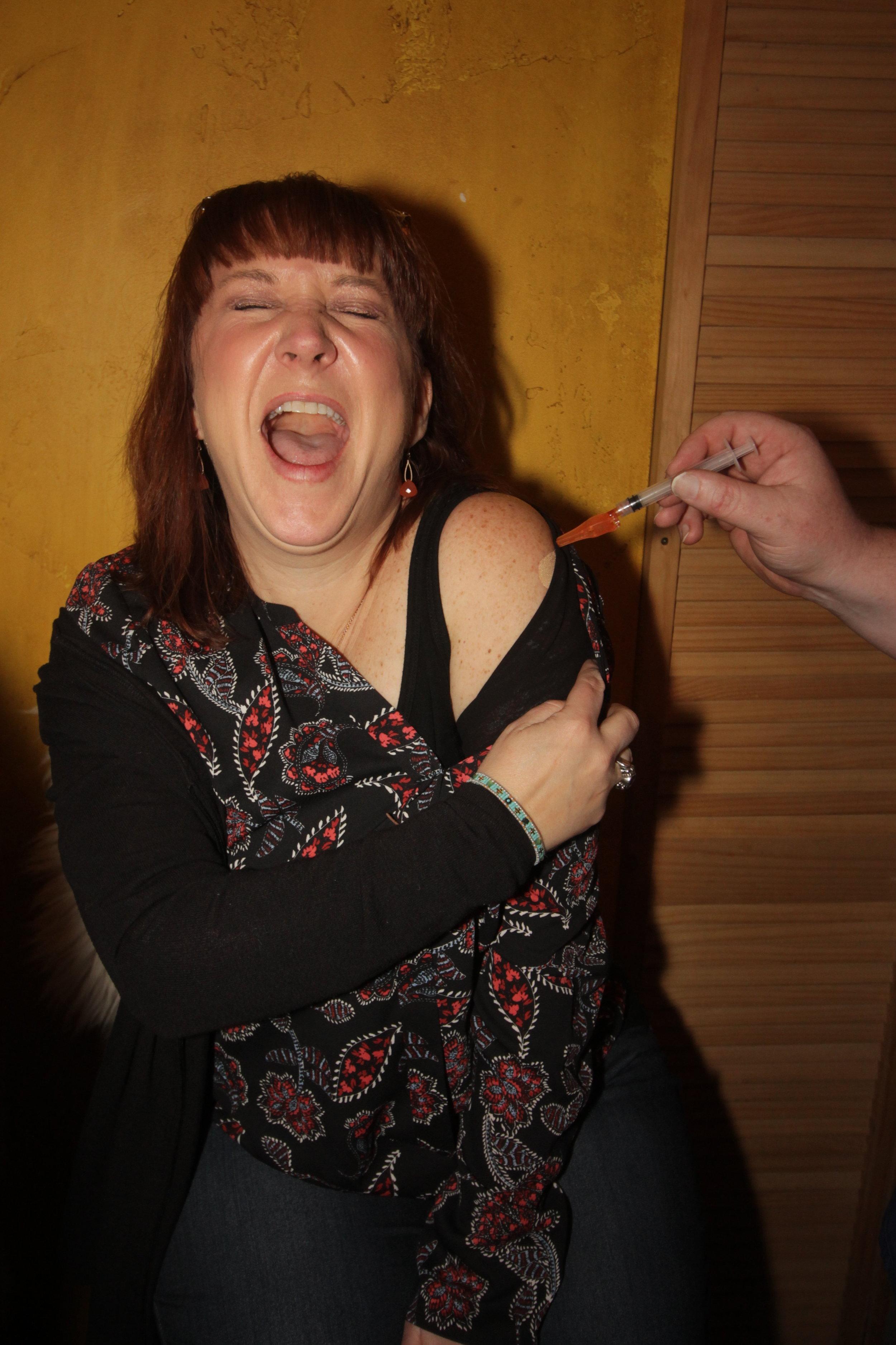 "Terri Lubaroff being brave at the REME ""B12 shot"" station!"