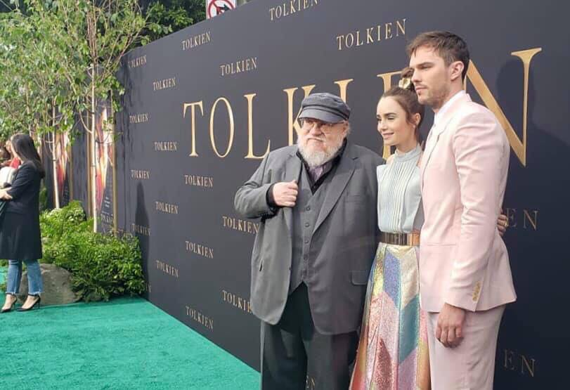 George R.R. Martin, Lily Collins, and Nicholas Hoult at the Fan Premiere of  Tolkien