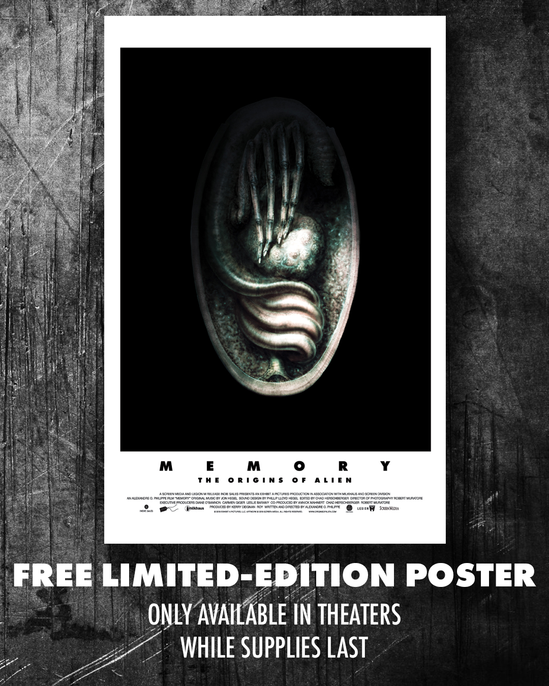 Anyone who sees    Memory: The Origins of Alien    in theaters will receive limited edition posters!