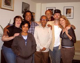 Pat Thokcham, Mita Nag, Prasanna Kumar Thokcham, Pt. Manilal Nag, Roger Worldie, Keshav Das and Gita Saulnier at a dinner party for Pandit Ji.