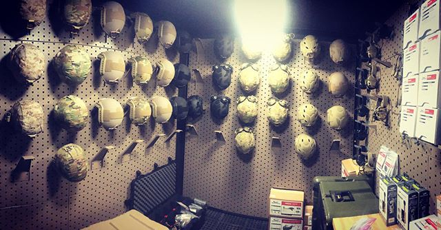 The hall of many helmets. #gallowtech #opscore #gentex #gameofthrones