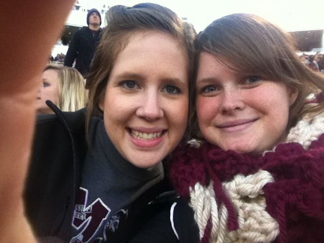 Jamie and me at a super cold football game. She was my college mentor and one of my favorite people!