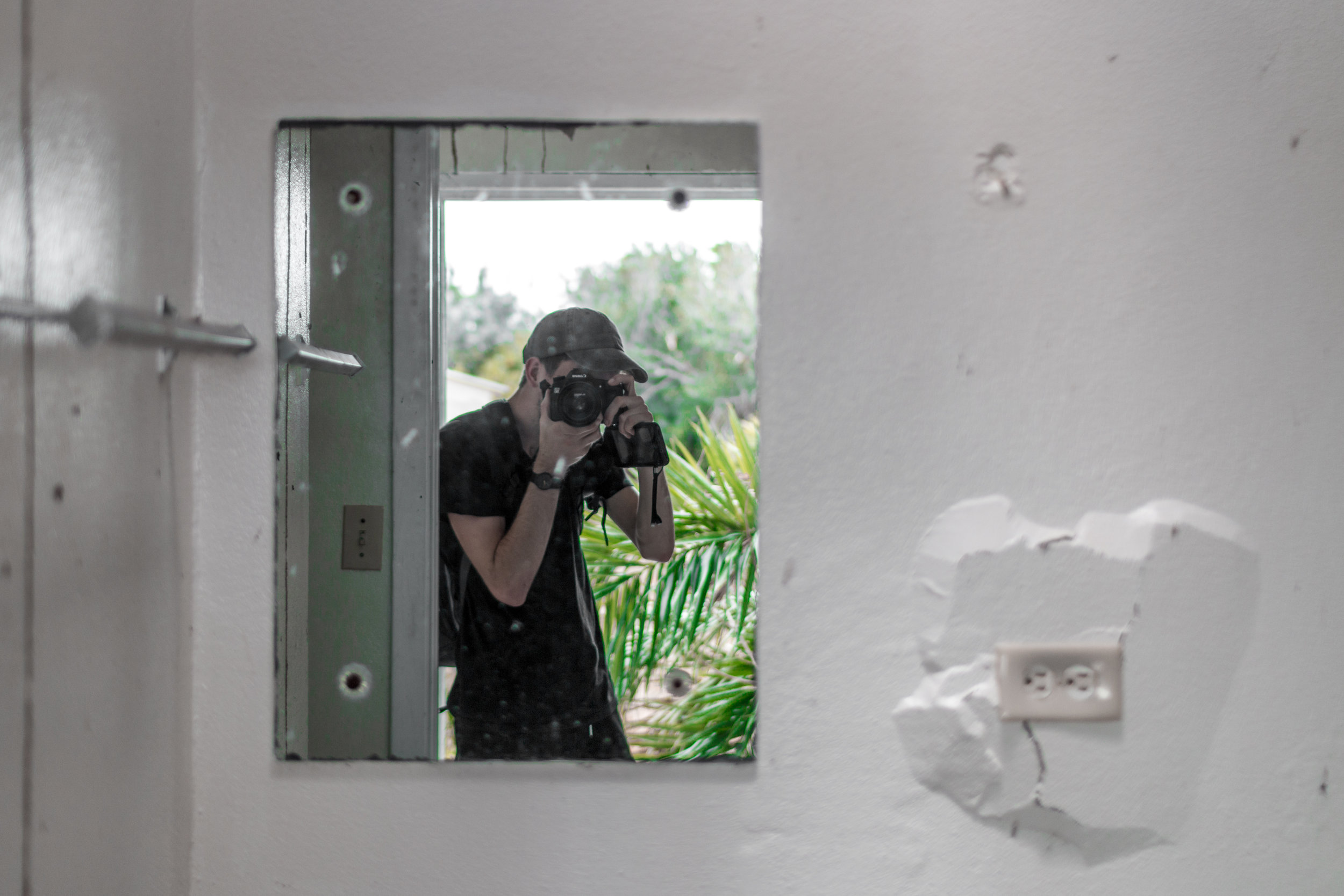 Mirror selfie in an abandoned house on an island in the middle of the ocean!