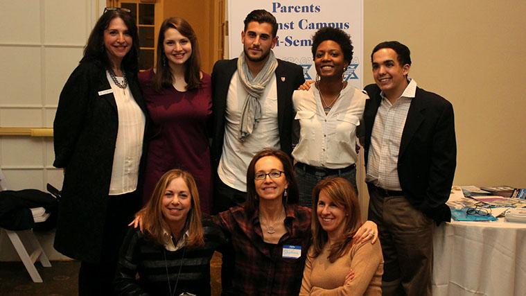Top Row from left: Karyn Gallant of ShaarayTefila with Israel advocates Jenna Zitomer, Rudy Rochman, Chloe Valdary and Justin Hayet. Bottom Row: SPACA leaders Sharon Freudenstein, Shoshana Bederman and Bonnie Katzenstein