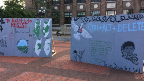 """SAFE's """"apartheid wall"""" at the University of Michigan. Photo: Twitter."""