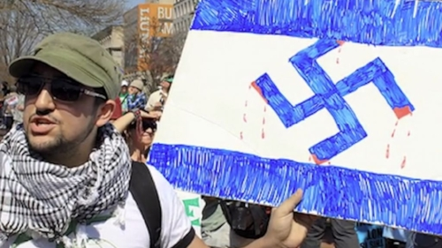 An image from the documentary 'Crossing the Line 2,' which depicts rising anti-Semitic activity on North American campuses. (Courtesy)
