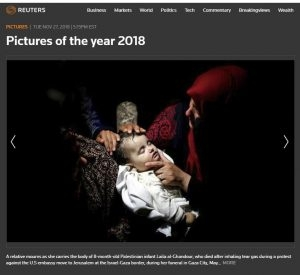 Reuters Corrects  In response to CAMERA's communication with Reuters, editors corrected the caption, removing the unfounded claim that Laila al-Ghandour died after inhaling tear gas. See  below  for a detailed update.