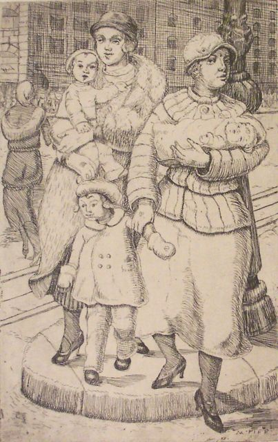 From Susan Teller Gallery, Mary Fife, Women and Children Crossing the Street, about 1925, etching, 7 x 4 inches
