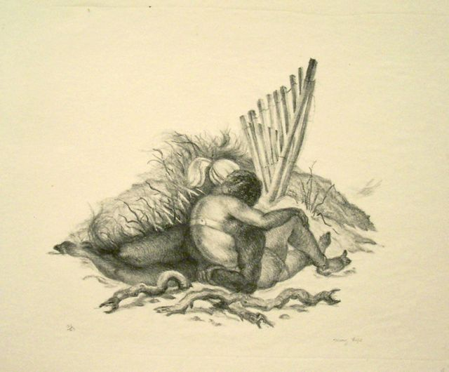 From Susan Teller Gallery,Mary Fife, Forbidden Love, 1935, lithograph