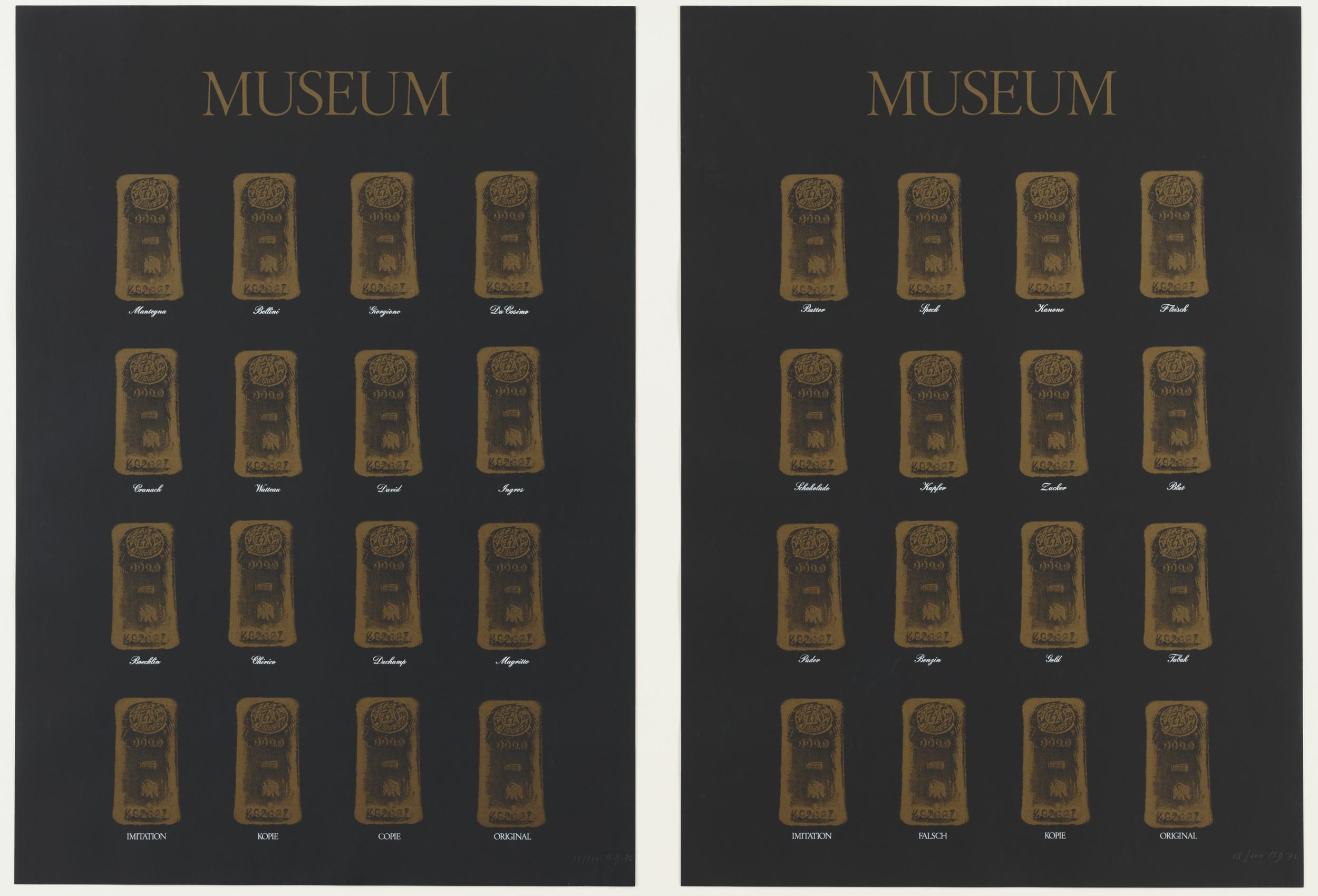 Marcel Broodthaers (Belgian, 1924–1976). Museum-Museum. 1972. Two screenprints, each print: 33 x 23 1/4 in. (83 x 59.1 cm). Publisher: Edition Staeck, Heidelberg, Germany. Printer: Gerhard Steidl, Göttingen, Germany. Edition: 100. The Museum of Modern Art, New York. The Associates Fund, 1991. © 2016 Estate of Marcel Broodthaers / Artists Rights Society (ARS), New York / SABAM, Brussels