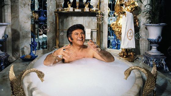 Liberace ensconced in bubbles.