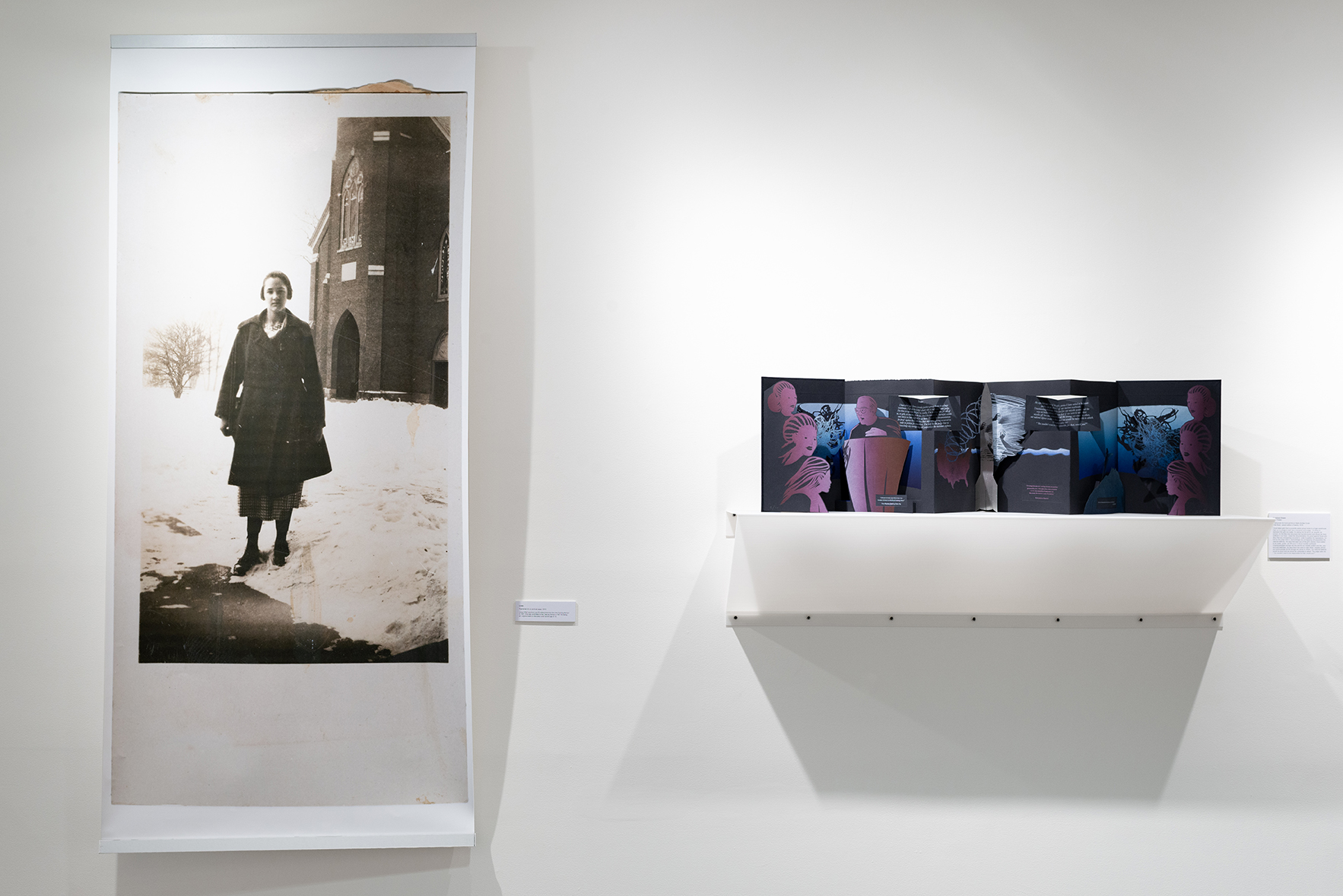 "[Left]  Linda,  Alison Cornyn, Linda was committed to the Training School in 1921 for being an "" ungovernable or disorderly child "" at the age of 13. Pigmented ink on archival paper, 2013. [Right] American Dream  Beth Thielen. Charbonnel ink mono-prints on black Arches Cover. Artist Book, variant edition of twenty, 2018"