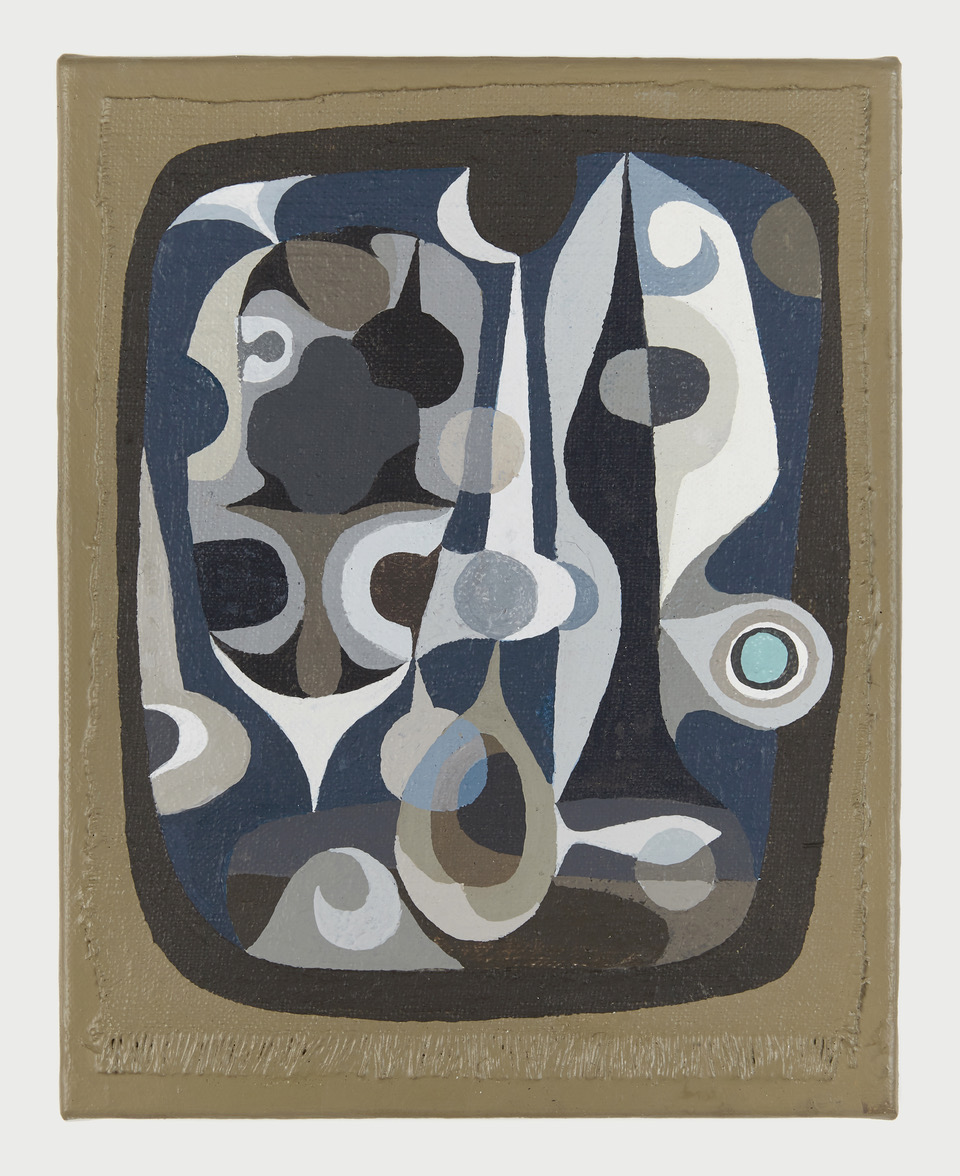 """John-Paul Phillippe,  Pond Life , emulsified gouache on linen, 10x8"""" 2019."""