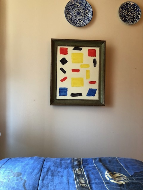 A painting by Andrew Lord, 2014, that served as the central talisman of my room. Its red and blue are echoed throughout the other objects.