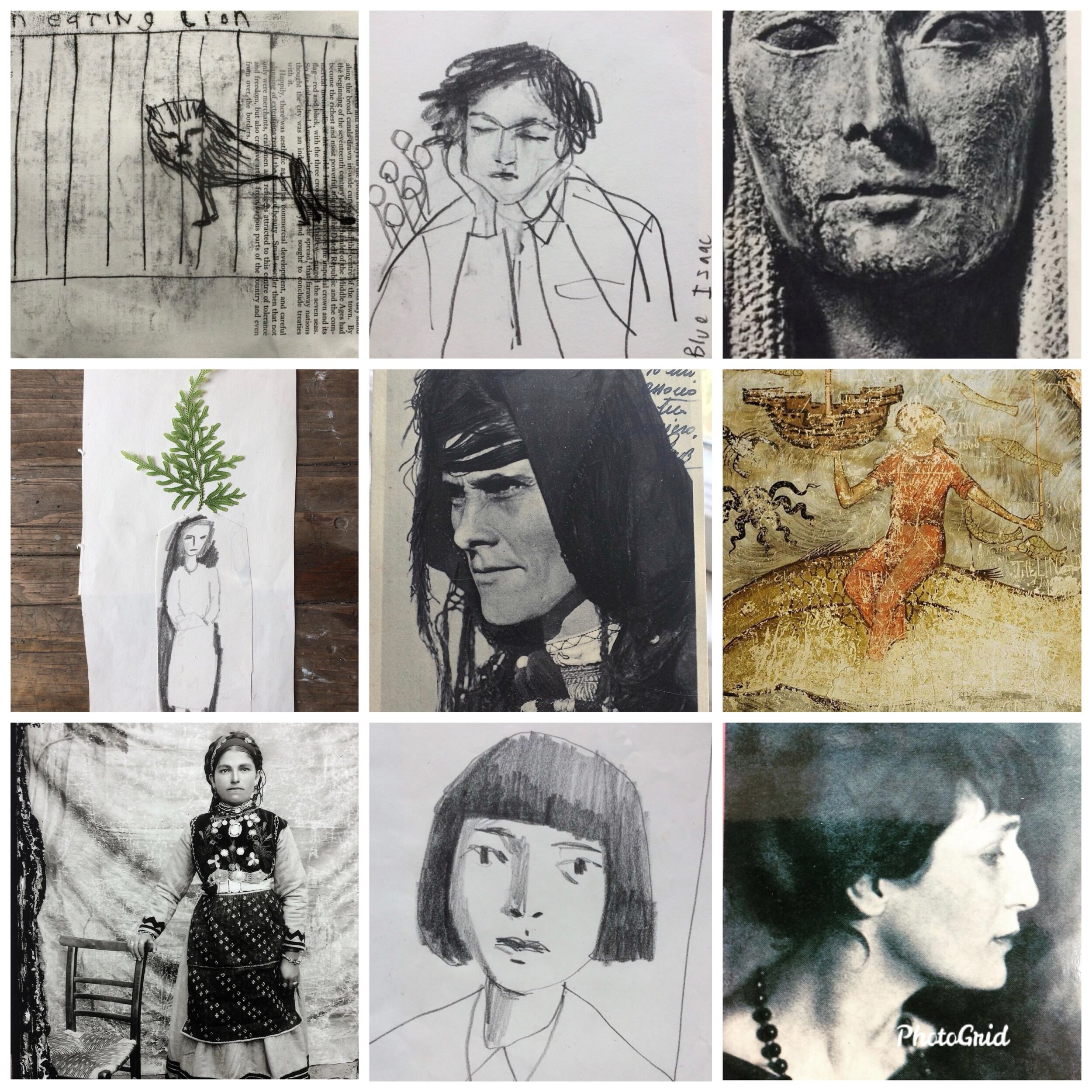 BRILLIANT SCOTS ARTIST MAUD HEWLINGS JUXTAPOSES HER OWN DRAWINGS WITH SOLEMN VINTAGE PHOTOGRAPHS.