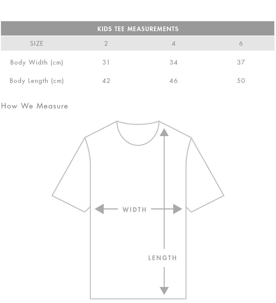 Kids Tee Measurements