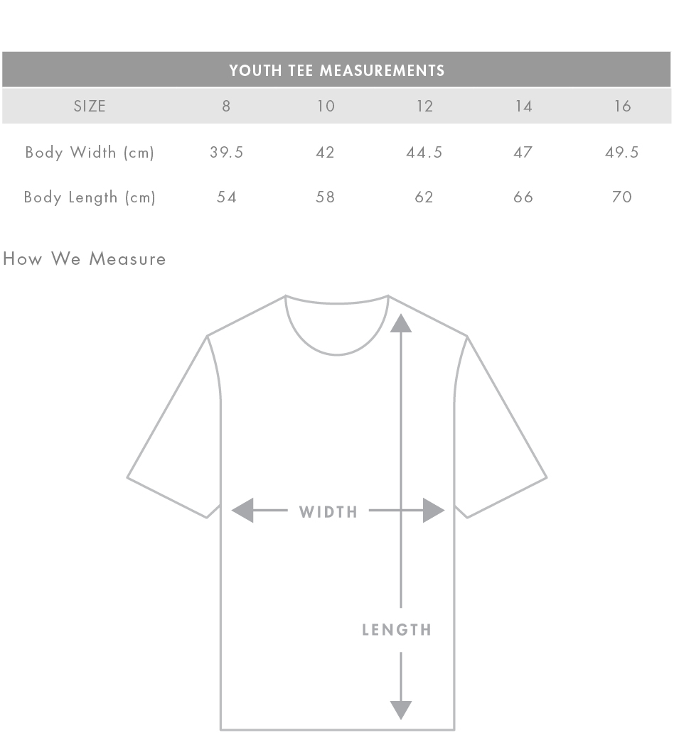 Youth Tee Measurements
