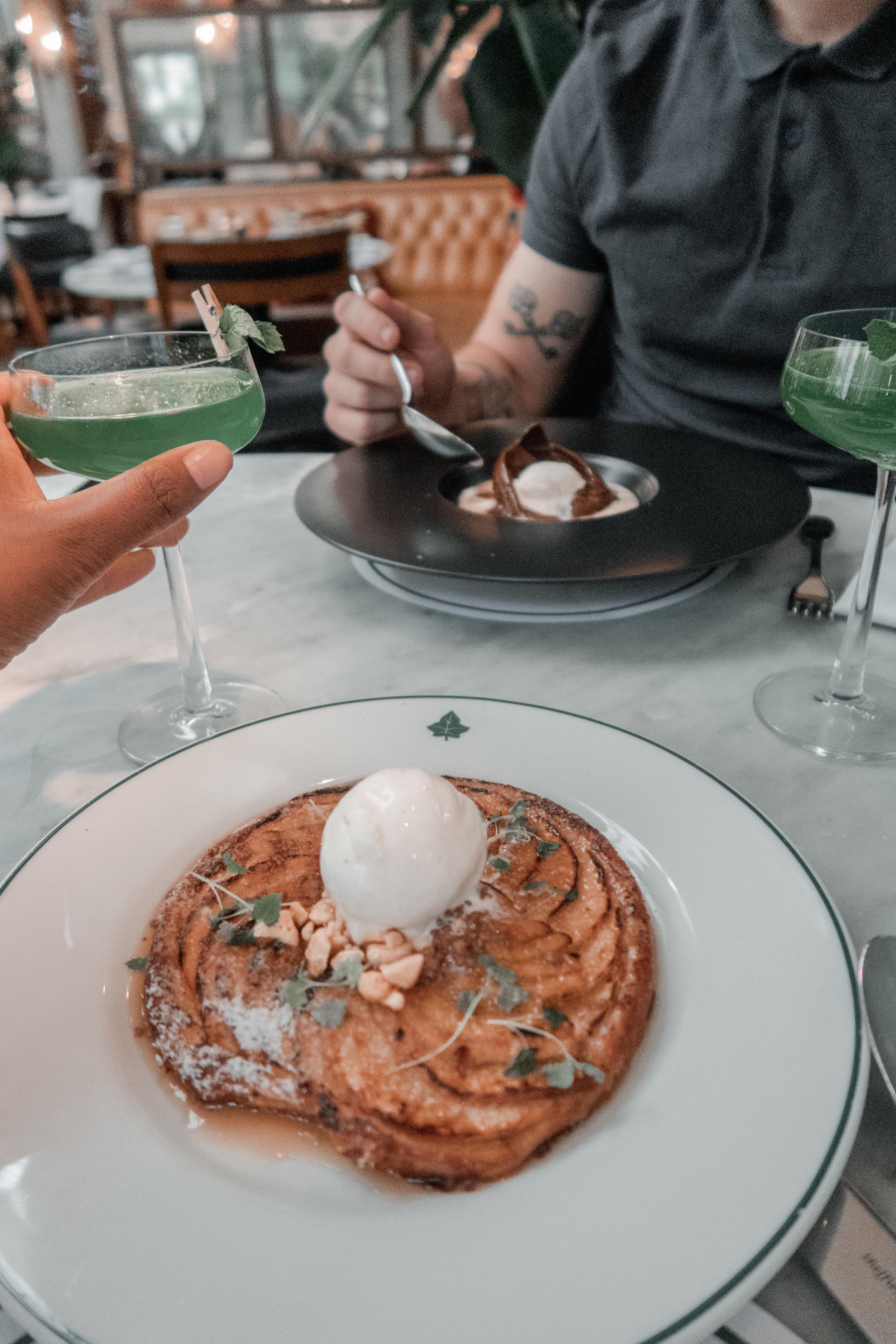 dessert menu the ivy clifton brasserie, apple tart, chocolate bomb nicole fiona serrao paul c davies