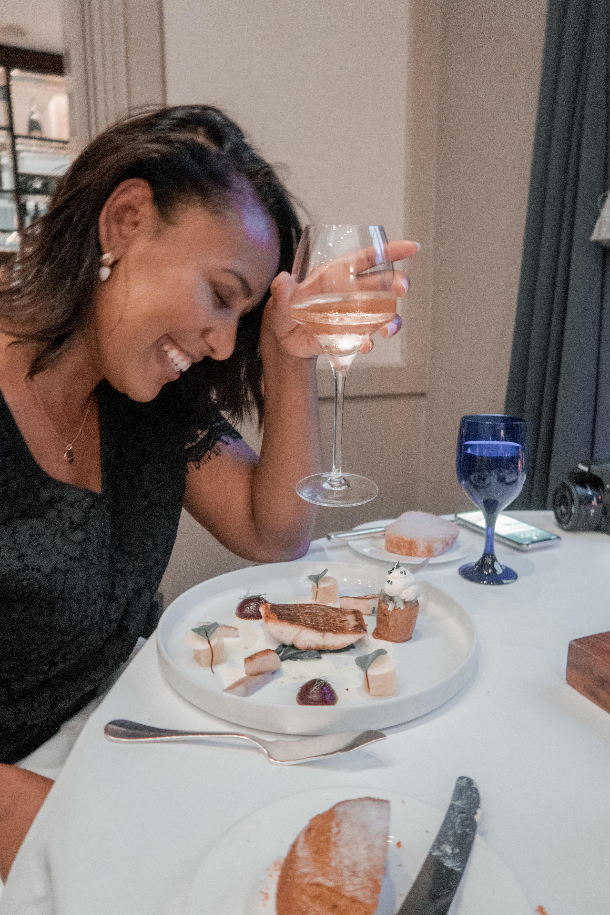 nicole fiona serrao lets eat with nicole sea bass roasted sea bass, scallops, beet root, smoked eel, hay baked potato, smoked roe cream, horseradish royal crescent hotel and spa