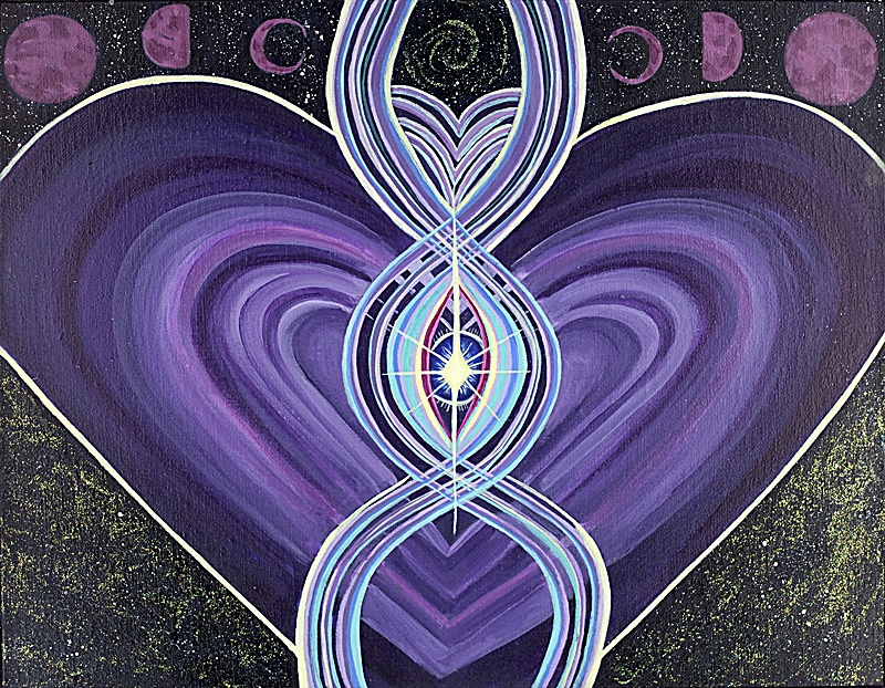 'Wisdom of the Yoni's Heart' Acrylic & Glitter on Canvas