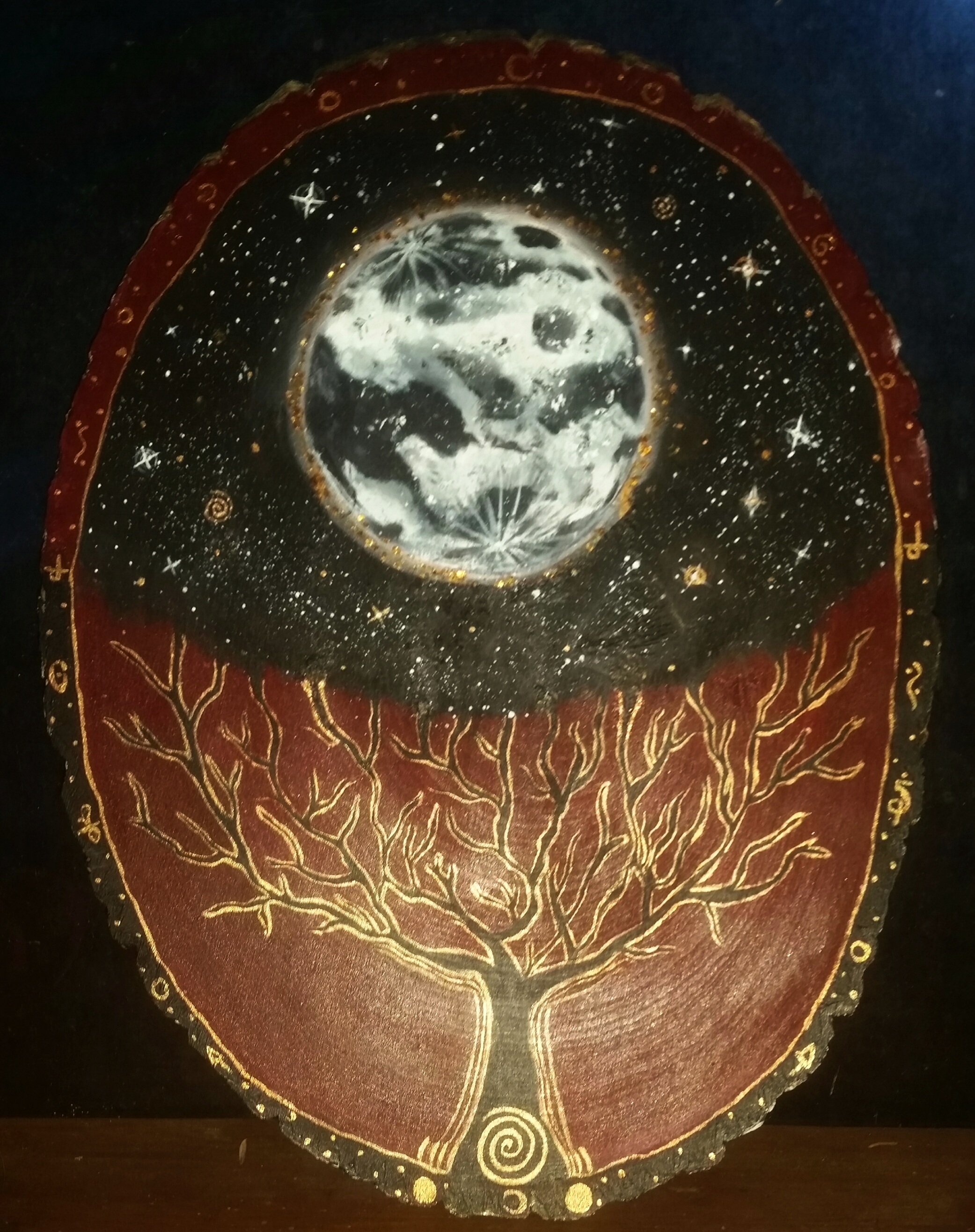 """""""As the Moon, So the Roots"""" 2018 Acrylic on Wood Plaque"""