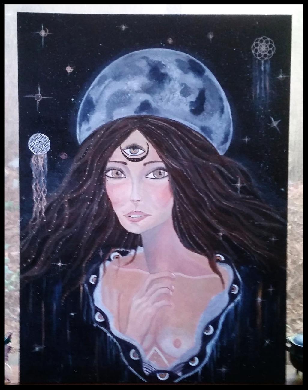 """""""Moon Goddess"""" 2018 Acrylic on Canvas"""