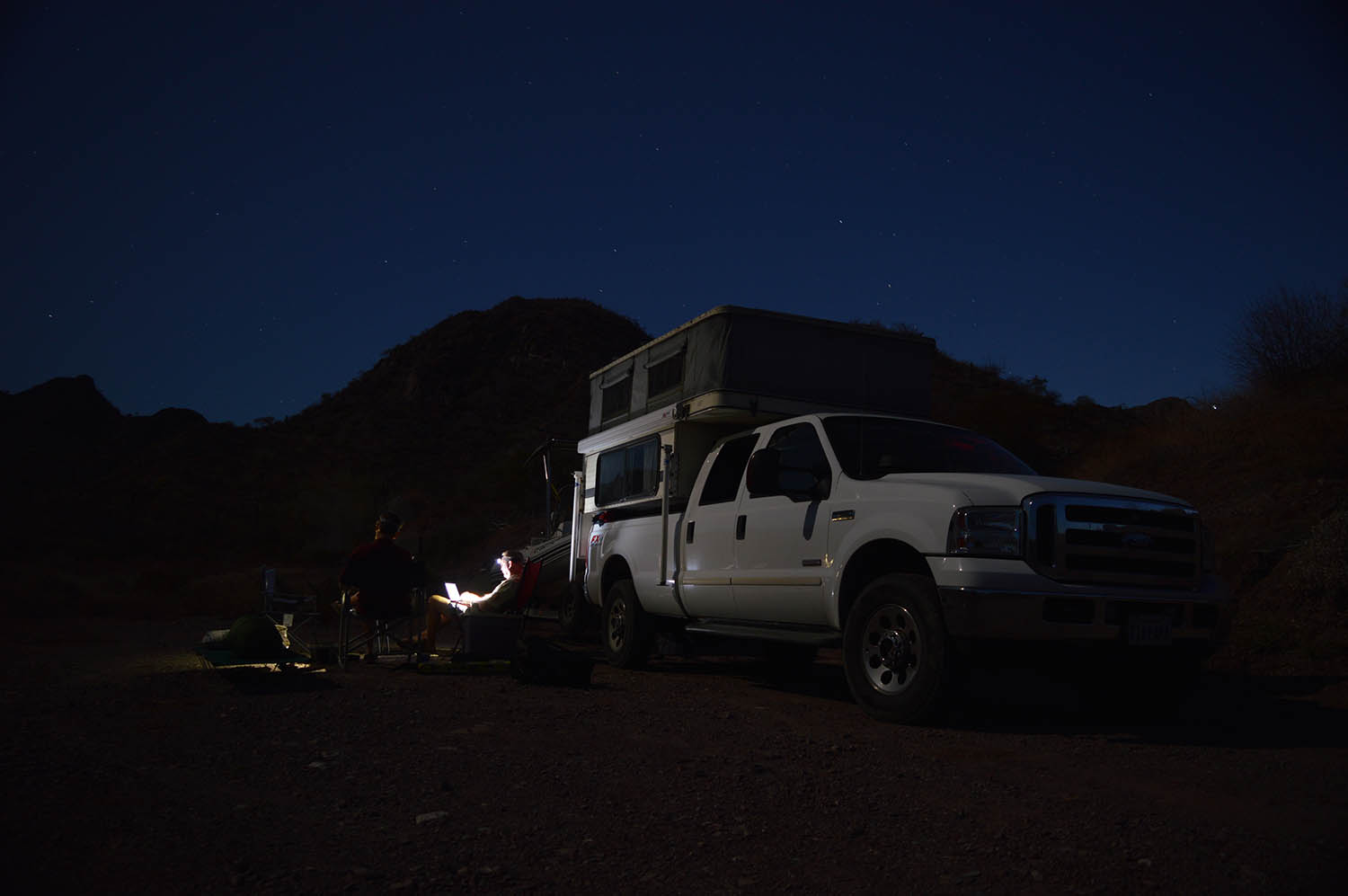 Camp at night.