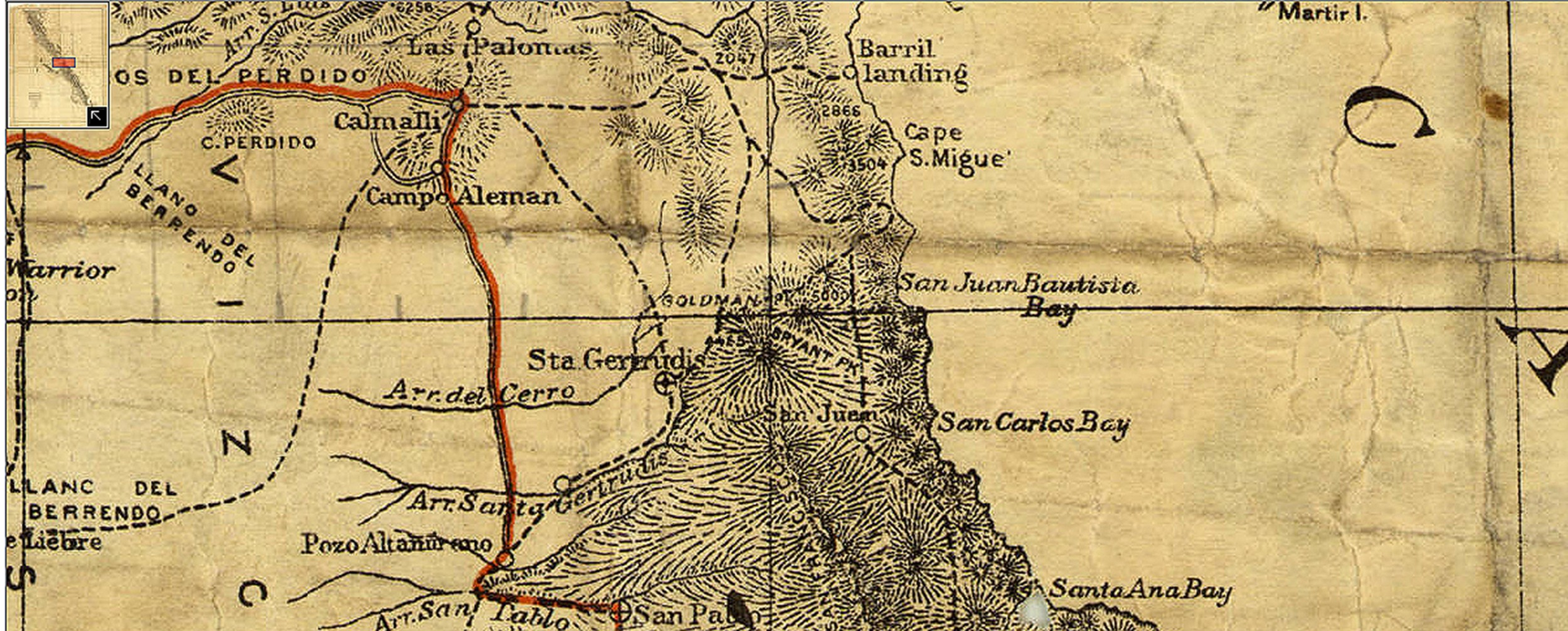 1919 map of Baja. Goldman Peak at center, northeast of Santa Gertrudis.