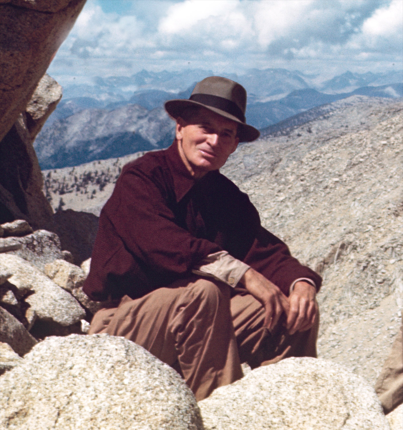 "Edward ""Uncle Ed"" Goldman, 1945 on horse pack trip in the Sierra Nevada. On this particular trip, the Broken Wagon Films producer's mother was present, accompanying Goldman, her uncle."