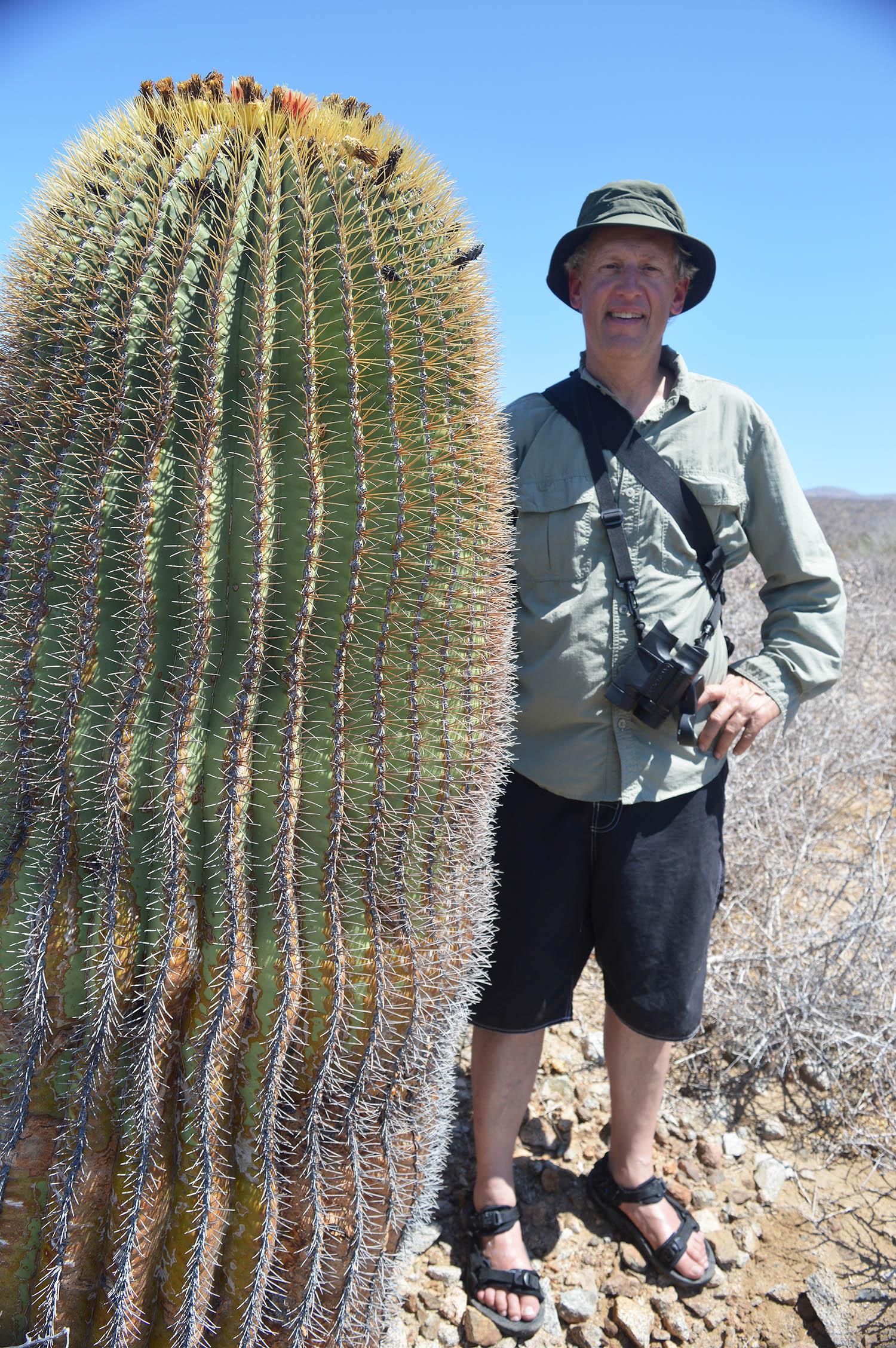 Broken Wagon Films scientific director Greg Meyer beside a  biznaga gigantesca,  Isla Cerralvo .